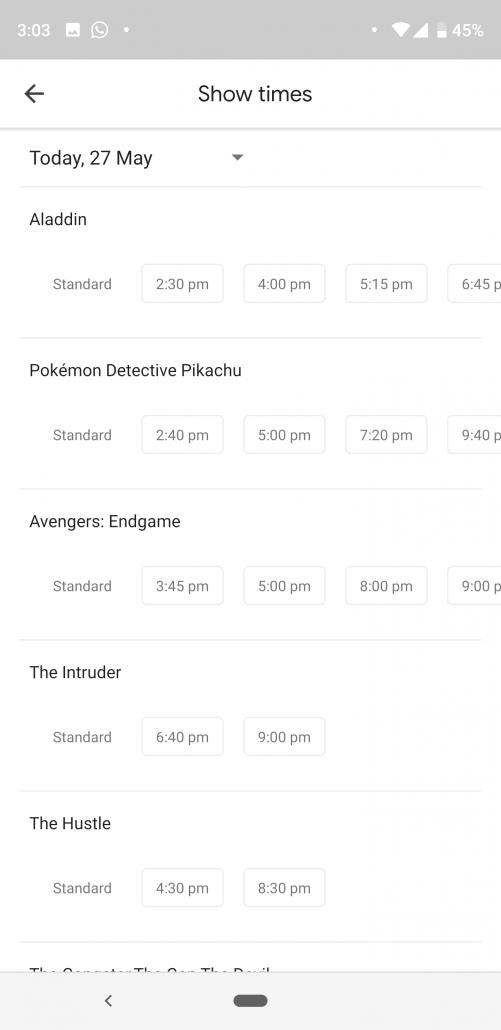 cinema listing on google maps